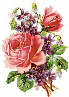 Roses and Violets. I really like this but just one big rose with a  few violets and leaves