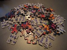 Pen Pal Puzzle Letter. This is a great idea! Put the puzzle together...write the message...take it apart...mail in sturdy envelope. Small inexpensive Christmas scene puzzles would make great holiday gre?