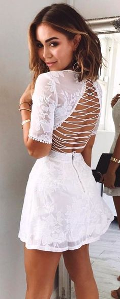 #summer #outfits White Lace Lace-up Back Dress