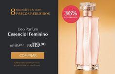 Compre Deo Parfum Essencial feminino com 36% de desconto: de R$ 189,90 por R$ 119,90. Promoção válida até 04/09, ou enquanto durarem os estoques.