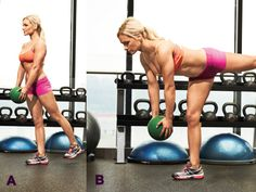 Single-Leg Medicine Ball Deadlift Works: Glutes, Hamstrings, Lower Back, Core The Secret to a Killer Core Muscle and Fitness Hers