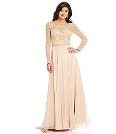 ec3f3ccf Lasting Moments Beaded Illusion Chiffon Gown #Dillards Prom Dresses,  Wedding Dresses, Chiffon Gown