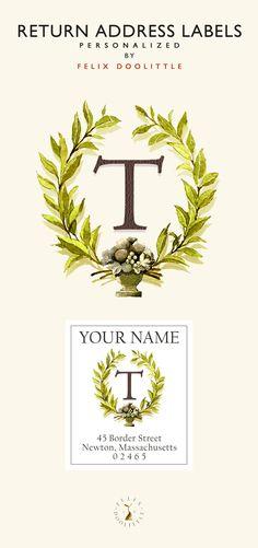 Personalized Monogram T return address Labels by felix Doolittle