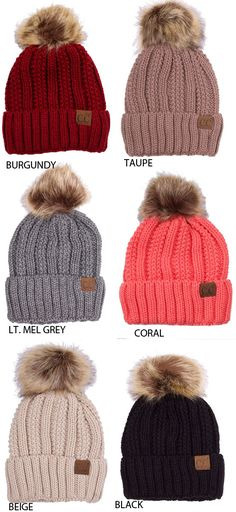 e998cc3001a63 CC Beanie Hat with Warm Lining and Fur Pom Pom