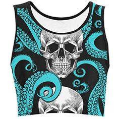 adb8dc9f2f005 InterestPrint Fantasy Design Octopus and Women Nylon Spandex Reversible Sports  Bra for Yoga Gym Workout Fitness     You can find out more details at the  ...