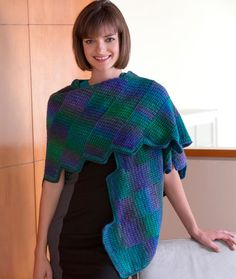 Crocheted Gradient Strips Shawl