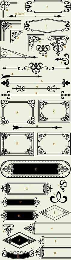 Confection Essentials 1 / Classic Panels & Borders (by Tom Kennedy) Border Design, Pattern Design, Web Design, Graphic Design, Victorian Design, Victorian Fonts, Borders And Frames, Letterhead, Pyrography