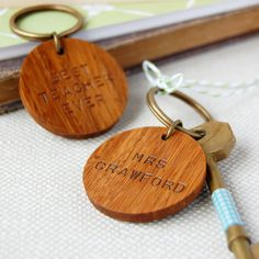 Personalised Best Teacher Wooden Circle Keyring. by claraandmacy