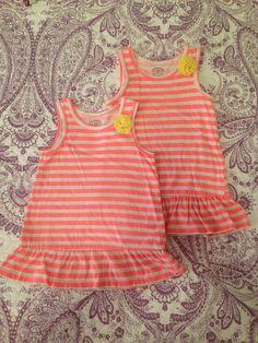 Carter's 24M Sundress, Dress, Tunic, Shirt Orange and White Stripes $2 each