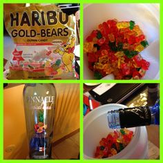 Making my own gummy bears soaked in Vodka  What I used:  3lb bag of gummy bears  Container to soak them in Pinnacle tropical fruit punch Vodka   Soaked for 24 hours in the fridge  :)