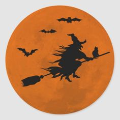 Shop Halloween Black Wicked Witch Flying Orange Moon Classic Round Sticker created by Personalize it with photos & text or purchase as is! Halloween Canvas, Halloween Moon, Halloween Rocks, Halloween Painting, Fall Halloween, Halloween Crafts, Halloween Decorations, Halloween Signs, Halloween 2020