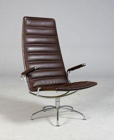 """Jens Ammundsen; Chromed Metal and Leather 'SAS"""" Chair for Fritz Hansen, 1978."""