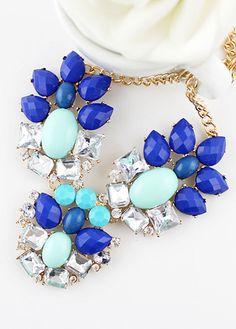 Blue White Gemstone Gold Chain Necklace 7.26