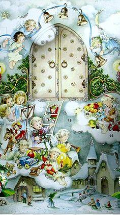 Snowy angels advent calendar ~ Germany Christmas Tale, Christmas Glitter, German Christmas, Old Fashioned Christmas, Antique Christmas, Vintage Christmas Cards, Christmas Images, Christmas Angels, Christmas Greetings