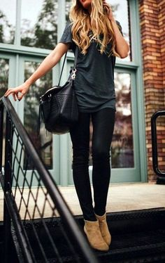 LOVE this whole look! Comfortable and cute. Over size bag is awesome. Like the long shirt and pant color. Boot adds color.