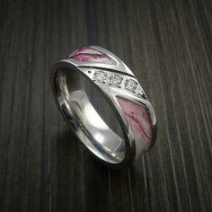 Kings Camo PINK SHADOW Ring with Diamond setting in Cobalt Chrome Custom Made