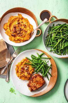Maple-Glazed Pork Chops with a Sweet Potato Mash and Garlicky Green Beans | More easy glazed pork recipes on hellofresh.com