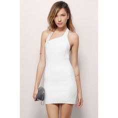 Tobi Gisele Bodycon Dress (13,770 KRW) ❤ liked on Polyvore featuring dresses, ivory, ivory bodycon dress, white ivory dresses, bodycon dress, white body con dress and white dress
