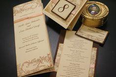Vintage Wedding Program Book, Flowers and Flourish Pattern, French Wedding, Romantic Marie Antoinette Style, Custom Order. $3.65, via Etsy.