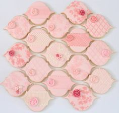 Pink cookies by Miss Biscuit Lace Cookies, Pink Cookies, Royal Icing Cookies, Sugar Cookies, Decorating Supplies, Cookie Decorating, Elegant Cookies, Chinese New Year Design, Edible Lace