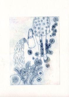 Cultivez son jardin secret 2012 etching by Valérie Belmokhtar