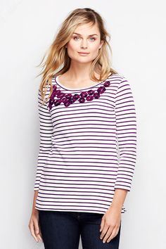 3/4-sleeve Ponté Embroidered Top - Stripe from Lands' End