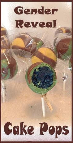 """Gender Reveal Cake Pops- this """"mom to be"""" had such a cute idea to distribute these!"""