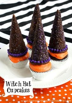 Learn how to make these adorable Witch Hat Cupcakes. Great idea for a kid's party! via @Taryn {Design, Dining + Diapers}