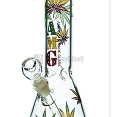 The bright rasta leaf outlines all over this beaker make it really cool to use over and over again. Voss Bottle, Water Bottle, Leaf Outline, Rasta Colors, Glass Pipes, Colored Glass, Cannabis, Shopping, Coloured Glass