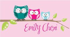 Owl Family Pink Canvas Wall Art - so cute!