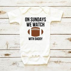 Baby Boy Onesie Sunday Football Bodysuit WIth Daddy and Mommy - Shop Cassidy's Closet