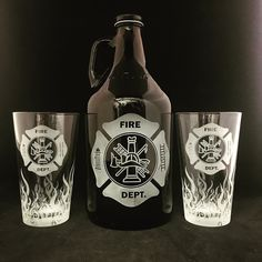 Fire Department, Beer growler, Fireman Gift, Fireman gifts, Firefighter gift, Firefighter gifts, Flames, Beer stein, Beer mug, Firefighter retirement, Firefighter graduation, Fireman retirement gift