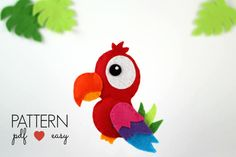 Felt Parrot Pattern - Parrot Sewing Pattern - Felt Bird Pattern - Parrot Toy - Ornament - Bird Mobile Pattern - Felt Plush - Jungle Decor
