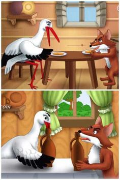 The Fox and The Stork Story: Moral of the story- A selfish act can backfire on you English Stories For Kids, Moral Stories For Kids, English Lessons For Kids, Short Stories For Kids, Kids English, Picture Story Writing, Picture Story For Kids, Stories With Moral Lessons, Short Moral Stories