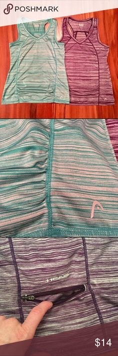 Lot of TWO Head V-neck Tanks This listing is for two Head racerback tank tops, great for tennis or other activities. Both are size Small, and colors are teal and purple. Ruching throughout the tanks improves the fit and comfort! Great little pockets in the back for keys, money, or credit cards. These have been gently worn, only a few times each. They are priced to sell, as I'm trying to clear out my closet! Feel free to ask questions. Head Tops Tank Tops