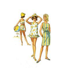 1960s Girls Swimsuit Pattern Simplicity 4494 by JFerrariDesigns