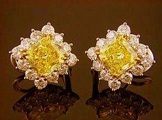 Fancy Colored Diamond Earrings, Radiant, set in Platinum/18kt