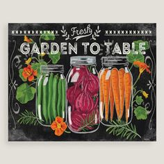 A charming addition to your kitchen decor, this cheery piece features mason jars filled with brightly colored garden vegetables, painted in the style of chalkboard art.