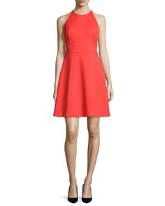 Modified-Halter+Fit-&-Flare+Dress,+Poppy+by+Lela+Rose+at+Neiman+Marcus.