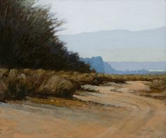Windbreak Near Bakersfield, 10 x 12 inches, oil on panel