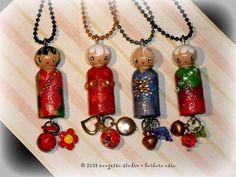 kawaii little kokeshi doll Japanese doll ornament by xangetsu, $10.00