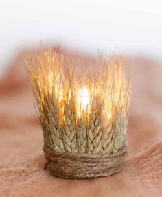 DIY Dyed Wheat Tea Lights / http://www.deerpearlflowers.com/wheat-wedding-decor-ideas/