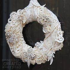 Crocheted doily wreath