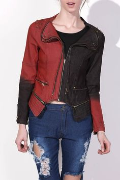 Punk Turn-Down Neck Long Sleeve Studded Hit Color Women's Jacket - RED WITH BLACK XL