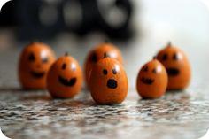 Mini acorn pumpkins :) So cute! Um... I mean so SCARY!!!