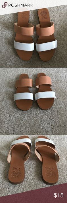 Vince Canute Slide Sandals Excellent condition - lightly worn. Vince Camuto, 2 strap, leather slide sandals. Bought 2017. Size 8.5, normal width. Vince Camuto Shoes Sandals