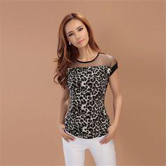 Barato 2016 moda feminina Leopard Chiffon Sheer Tops gola contraste camisas…