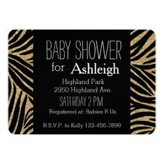 Black and Gold Glitter Zebra Print baby shower Cards