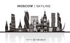 Moscow skyline silhouette design. You can see the most important buildings, it's isolated and it also says Moscow Skyline over the silhouette.