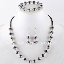 diy pearl and crystal necklaces and bracelets | Black Crystal Pearl Round Beads Necklace Bracelet Earrings SET Charm ...